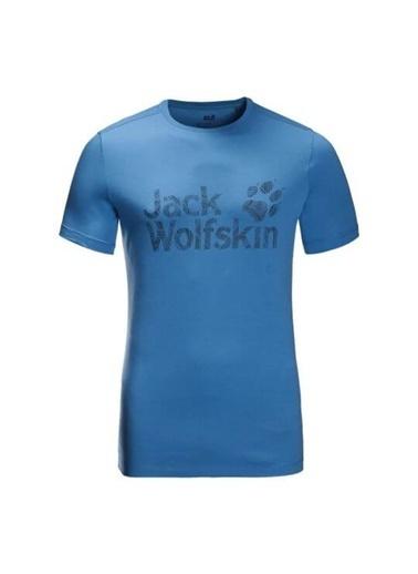 Jack Wolfskin Wolf Logo Erkek T-Shirt - 5022191-1255 Mavi